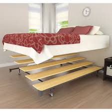 ingenious full size floating bed with wooden metal steps decofurnish