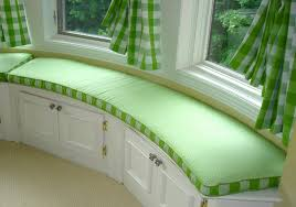green bench cushion interior modern white and grey striped pattern bay window bench