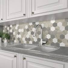 white kitchen cabinets with hexagon backsplash mohawk grand terrace white lace 12 x 14 hexagon glass and