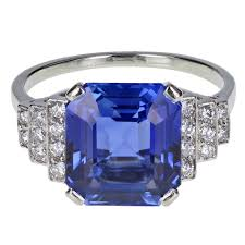 art deco ceylon no heat sapphire diamond platinum ring for sale at