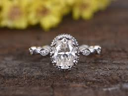 engagement rings vintage images 1 5 carat moissanite oval engagement rings diamond 14k white gold jpg