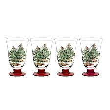 amazon com spode christmas tree glass footed all purpose glasses