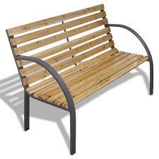 Wood Slats by Vidaxl Iron Frame Garden Bench With Wood Slats Vidaxl Com