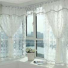 Sheer Curtains With Valance Decorative Floral Sheer Curtain And Faux Silk Bay Window Curtain