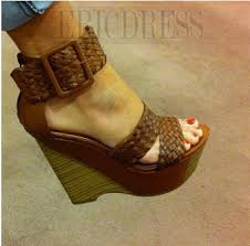 Comfortable Wedge Shoes Wedge Heel Ankle Strap Buckle High Heel Sandals Wedge Sandals