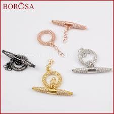 Toggle Clasps For Jewelry Making - borosa 10pcs gold silver black rose gold cz cubic zirconia ot