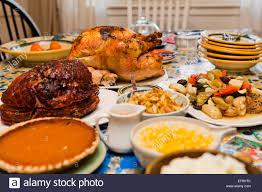 thanksgiving turkey dinner on table usa stock photo 78250947 alamy