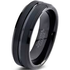 mens comfort fit wedding bands tungsten wedding band ring 6mm for men women comfort fit black