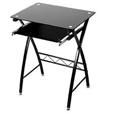 Small Glass Computer Desk Levv Glass Computer Desk Black Co Uk Kitchen Home