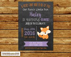 little fox invitation for girls fancy little fox birthday