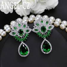 Cubic Zirconia Chandelier Earrings Vintage Chandelier Earring Tiny Cubic Zirconia Pave Green Teardrop