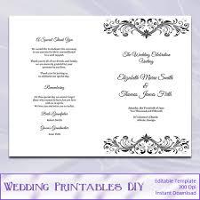 wedding booklet templates wedding program booklet template black by weddingprintablesdiy