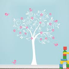 birds flowers art vinyl tree wall stickers for kids room home