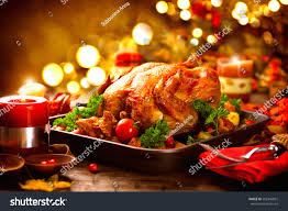 Thanksgiving Table Thanksgiving Dinner Thanksgiving Turkey Served Table Stock Photo