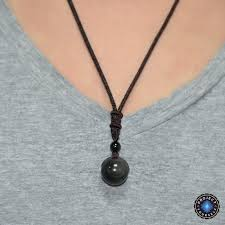 black jewelry necklace images Natural black rainbow eye obsidian sphere pendant necklace jpg