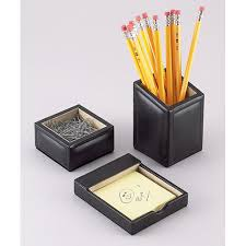 Leather Desk Organizers Black Leather Desk Organizer Set In Desk Accessories