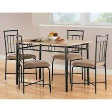 metal dining set wood table chairs seats kitchen furniture sturdy