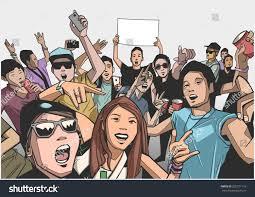 Going Crazy Illustration Festival Crowd Going Crazy Concert Stock Vector