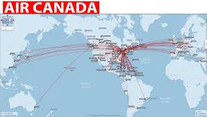 Map International International Flights Air Canada Routes Map Throughout Air Canada