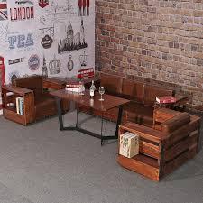 sofa bar iron wood sofa leisure sofa retro bar cafe creative retro sofa