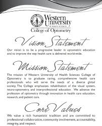 college of optometry vision statement mission statement and