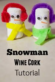 make your own snowman wine cork winter craft tutorial
