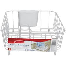 Dishes Rack Drainer Rubbermaid Large White Antimicrobial Dish Drainer Fg6032arwht