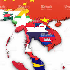 Map Of Se Asia by 3d Map Of Southeast Asia With National Flags On White Background