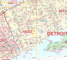 area code map of michigan detroit wall map