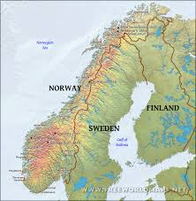 World Map Sweden by Norway Physical Map