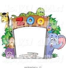 clip art of a frame of zoo animals on white by visekart 271