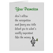 congratulations promotion card your promotion a congratulations poem card zazzle