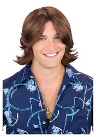 men feathered hair brown ladies man wig