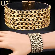 gold plated leather bracelet images U7 hip hop big leather bracelet men jewelry trendy gold color jpg