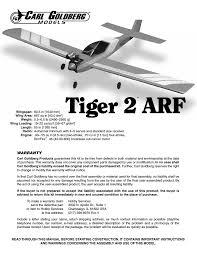 carl goldberg gpma1966 tiger 2 arf user manual 24 pages