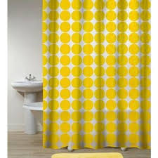 Yellow And White Shower Curtain Bathroom Interior Polka Dots Yellow Shower Curtain Bathroom
