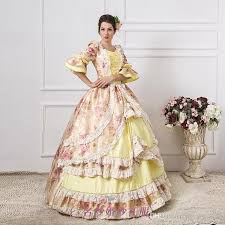 Marie Antoinette Halloween Costumes Luxury Light Yellow Flower Ball Gown Medieval Dress Renaissance