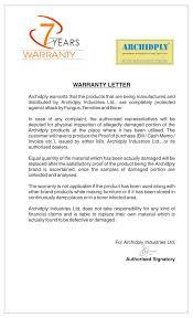 Financial Warranty Letter archidply 7years warranty archidply