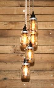 Pendant Light Chandelier Ball Mason Jar Pendant Lights Chandelier 5 Clear Pint Jars Ceiling