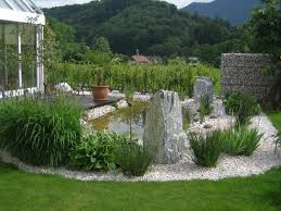 teich grüne pflanzen und steine für eine schöne garten gestaltung