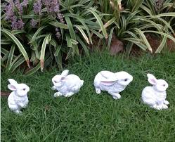design of rabbit garden decor 4 pieces a set resin font b