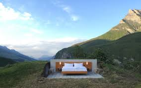 the swiss hotel room with no walls or ceiling