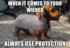 Wiener Dog Meme - when it comes to your wiener always use protection wiener dog in