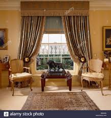 Blue Silk Curtains Blue And Beige Silk Curtains With Deep Pelmet And Blind In Living