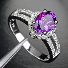 purple diamond engagement rings purple amethyst 14k white gold 27ct diamond engagement ring