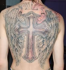 angel wings cross tattoo on back photos pictures and sketches