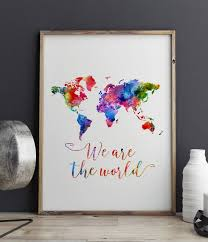 world map watercolor poster we are the world travel bible shop world map watercolor poster we are the world