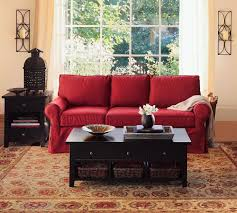 red couch with gold walls decorating ideas in stylish