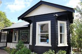 exterior painted with resene black with resene double pearl lusta