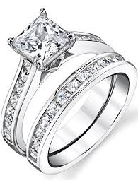 engagement wedding rings images Sterling silver princess cut bridal set engagement jpg